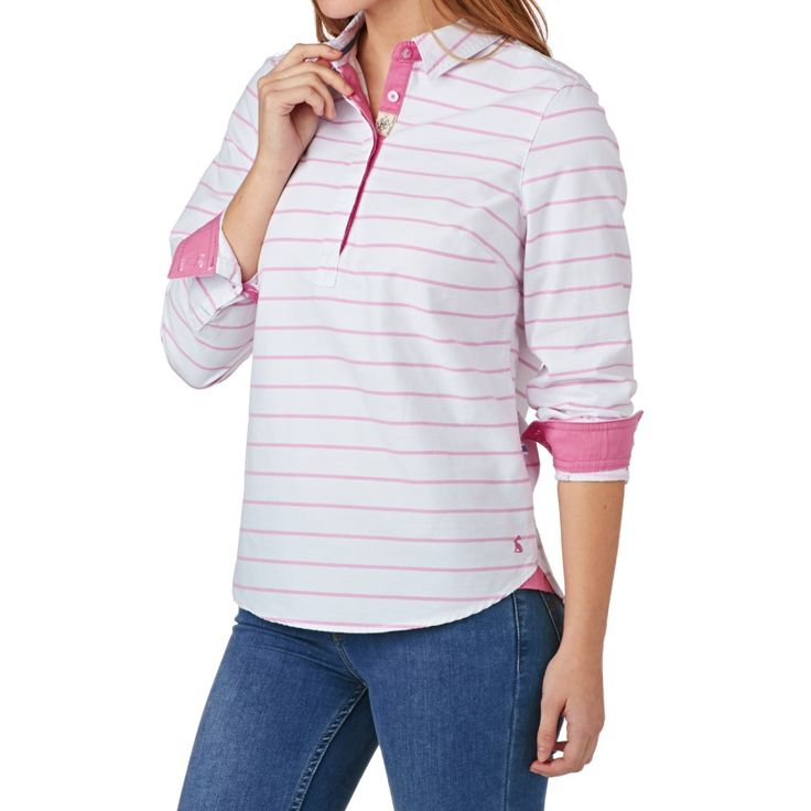 Women's Joules Shirts - Joules Clovelly Deck Shirt - Pink Stripe