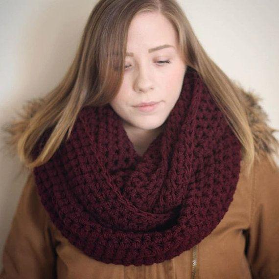 Burgundy infinity scarf vegan maroon cowl cruelty by FawnAndFolly