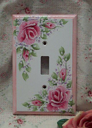 hand painted switch plate shabby chic roses