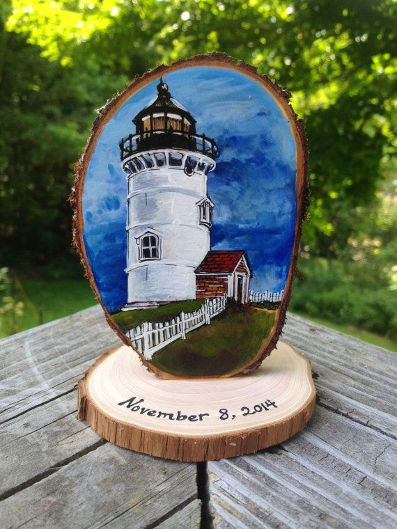 Lighthouse Wedding Cake Topper custom painted by JenniferLenoxVT