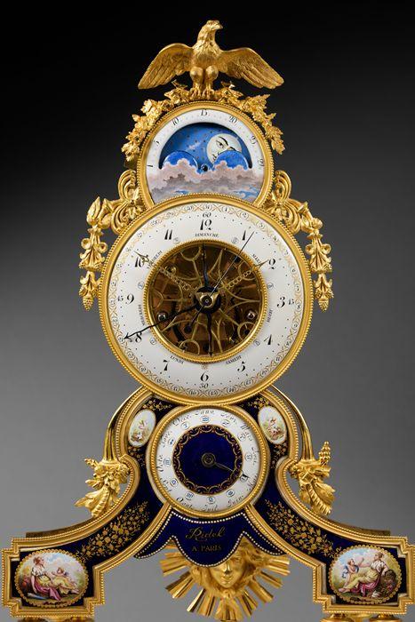 c1795 Joseph Coteau - Rare Gilt Bronze, Enamel, and White Carrara Marble Skeleton Clock, Directory period