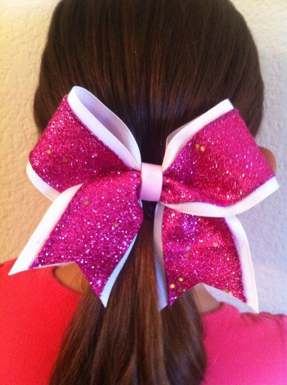 Sparkly Hot Pink Smaller Cheer Bow on 2 by AnnieBowBannieBows, $7.00