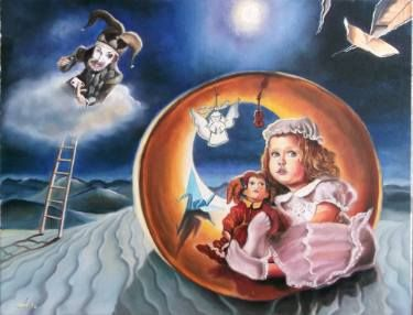 Shelter oil on canvas 45 x 60 cm #oil #canvas #traditional #painting #surreal #child #childhood