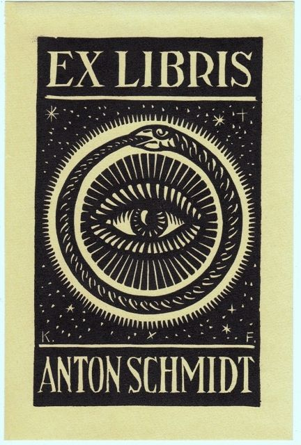 Exlibris by Karl Frech 1920 #segni #grafica #uroboro