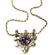 Stirling Silver Necklace - Amethyst semi precious stone pendant  $49.50