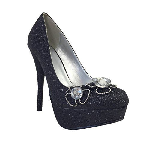 Gady By Delicious Glittery Platform Stiletto Heels with Rhinestone and Jewel Encrusted Flower Dcor black glitter 75 M * Click the VISIT button to enter the website