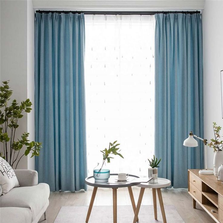 Contemporary Solid Blue Curtain Modern Simple Curtain ...