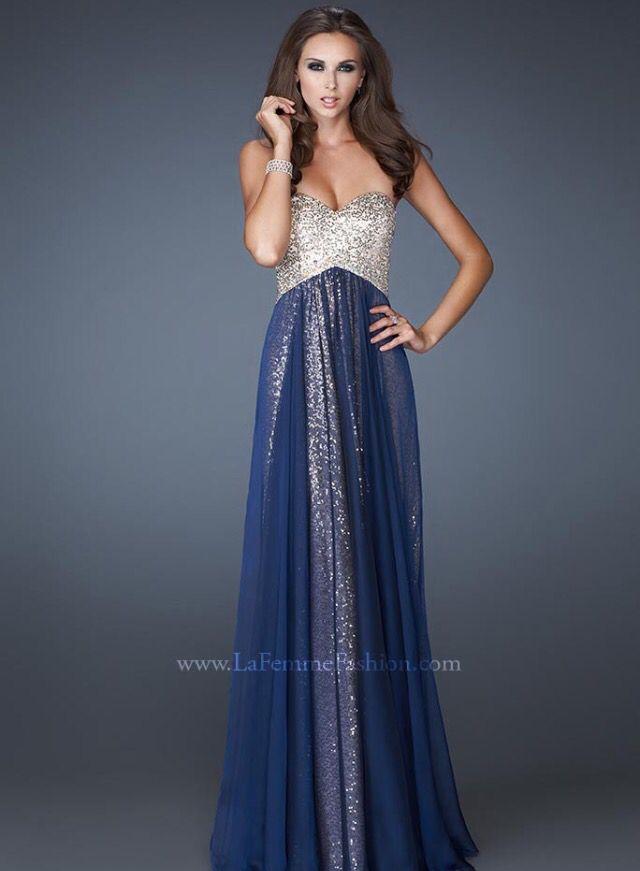 Bridesmaid dress, navy blue and gold