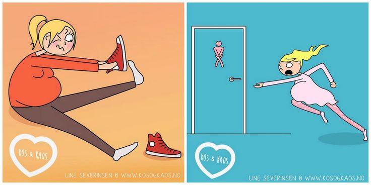 Grappige zwangerschap illustraties Funny pregnancy illustrations by Line Severinsen