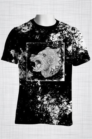 Plus Size Men's Clothing Black Tribal Bear t-shirt   Wild Grunge Collection - Plus size men's clothing Fabric for this t-shirt is a lightweight polyester cotton fabric that,  * absorbs moisture  * transfers body perspiration away from the skin  * breathable and lightweight * tear resistant  * shrink resistant * quick drying  * comfortable
