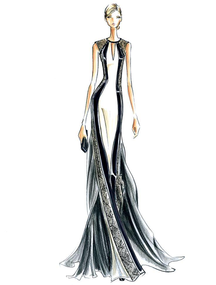 J. Mendel Fashion Illustration Fall 2014 #jmendel #fashion #illustration #gown