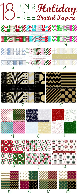 free holiday digital paper sets