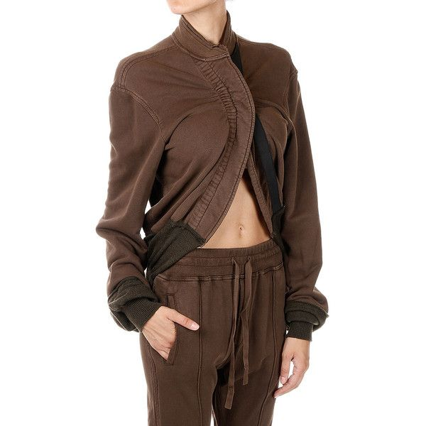 Haider Ackermann PERTH VISON Korean Collar Sweatshirt ($310) ❤ liked on Polyvore featuring tops, hoodies, sweatshirts, brown, long sleeve tops, haider ackermann, long sleeve sweatshirts, collared sweatshirt and haider ackermann sweatshirt