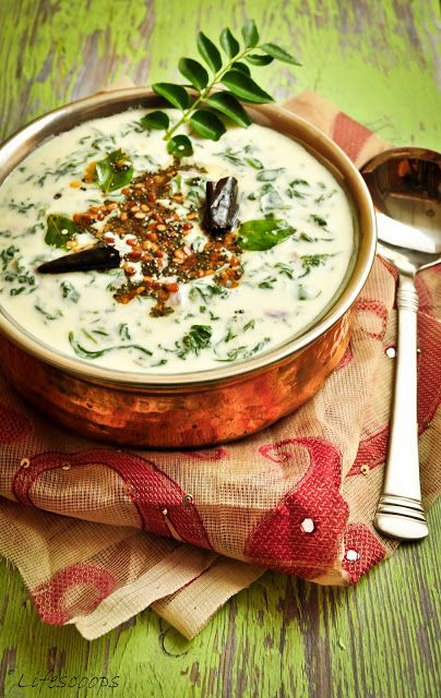 Tadka Palak Raita - Seasoned Yogurt with Spinach: served with Roti, Paratha, Naan, Rice or Pulav.   Serves 6-8  Ingridients 1 lb - Spinach 1/2 - Onions or 4 – Shallots, finely chopped 3 ½ Cup – Yogurt ½ Tsp – Ginger, finely grated Salt to taste  For Tadka/ Tempering 1-2 - Dry Red chilly ½ Tsp - Mustard seeds 1 tsp - Yellow split moong dal A Few - Curry leaves Oil
