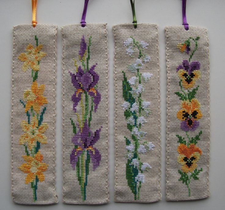 Cross stitch bookmarks. Flower bookmarks-Lesley Teare/Cross Stitch Collection.