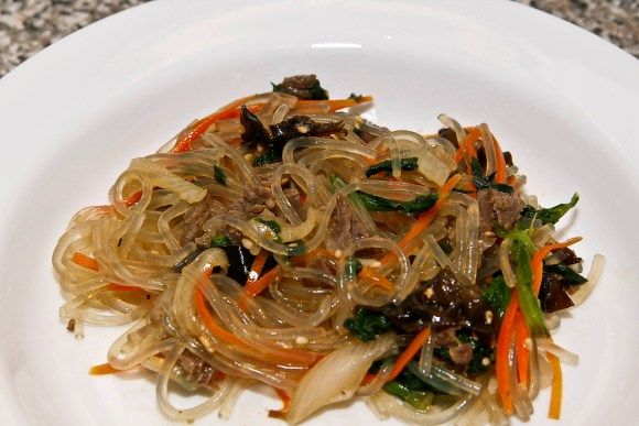 Jap Chae (or Chap Chae) Bap - Glass Noodles with Beef and Vegetables <---Love this!