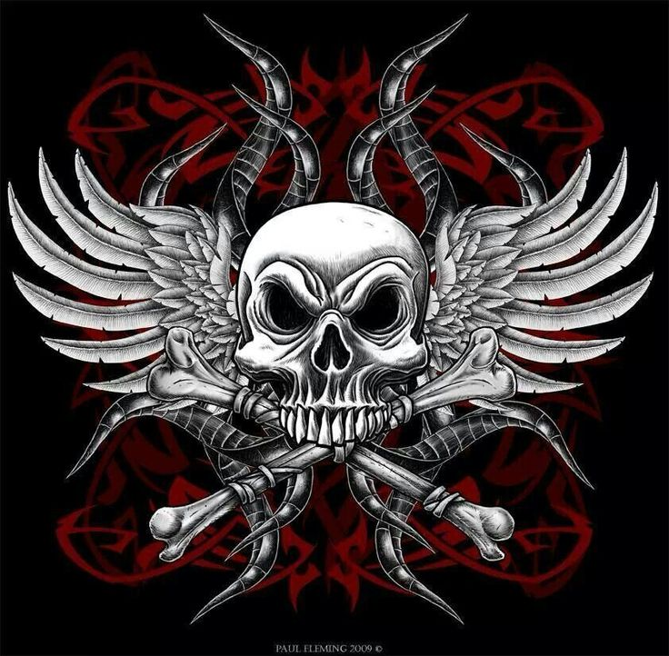 Skulls Tattoo Design Wallpaper: Skull And Crossbones And Wings, Sweet!