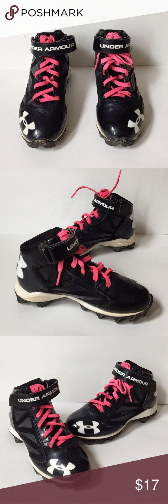 Under Armour Girls' Baseball and Soccer Cleats Soccer and baseball season is here! Equip your little athlete with these black and white high top cleats with pink laces. They lace up and have a velcro strap. Under Armour Shoes
