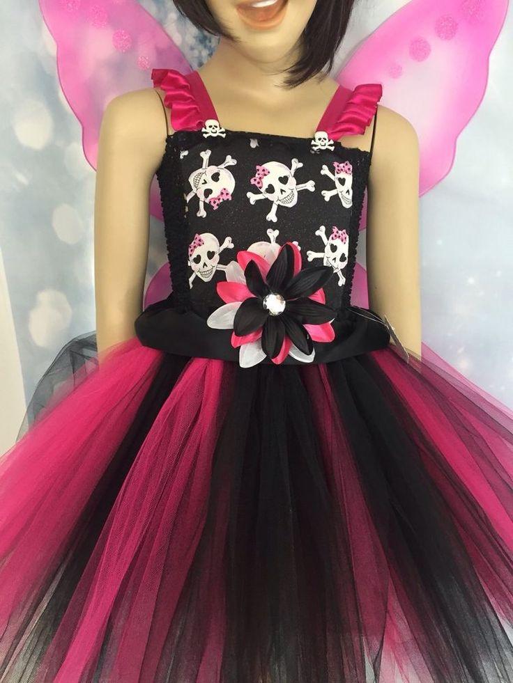 halloween skull fairy costume tutu dress fits age 6 7 halloween parties pjsdreams - Halloween Tutu Dress
