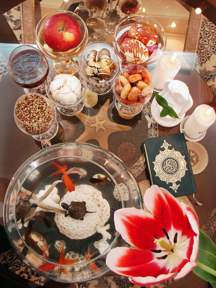 "The ""Haft-Sin"" Table. Image Credit: Flickr/Hamed Saber. The haft seen table includes seven items all starting with the letter seen in the Persian alphabet. 1. Sabzeh - wheat, barley, mung bean. 2. Samanu - sweet pudding. 3. Senjed - dried oleaster Wild Olive fruit. ..."