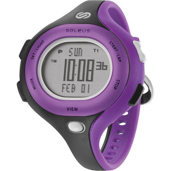 Soleus Chicked - Black/purple/white - Women's Watches ($44) ❤ liked on Polyvore featuring jewelry, watches, purple, alarm watches, purple jewelry, purple watches, soleus watches and dual time watches