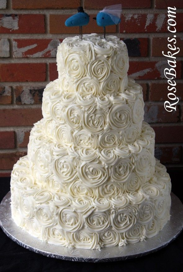 Ivory Buttercream Roses Wedding Cake with LoveBirds Cake Topper..no fondant!