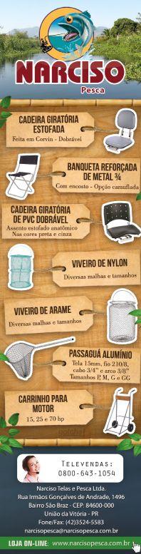 Narciso Pesca, Anúncio publicado na revista Pesca e Companhia em agosto de 2013