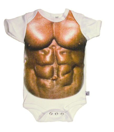 """$19.99-$24.95 Baby Muscle Man - Humorous Baby Boy Bodysuit 12 - 18 Months - Muscle Man -  a funny bodysuit for your baby.  A bit crude and not too pretty - but very VERY big muscles for your baby boy.   *This bodysuit is not textured.  The image is a """"flat"""" full color image that gains 3D perspective when photographed. Consequently it is difficult to represent in pictures - it does not have the s ..."""