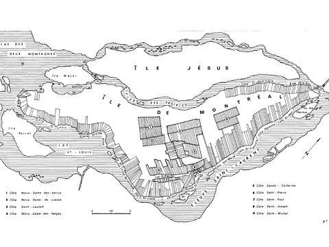 Figure 2. Le premier plan terrier de la seigneurie de Montréal : 1702.