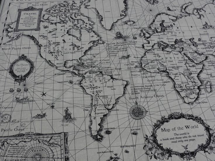 World Map print Linen cotton blended fabric  1 panel by CuteOne, £8.00