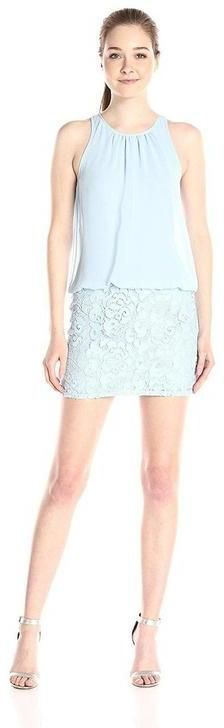 Aidan Mattox Lace Halter Neck Blouson Dress 151A12820