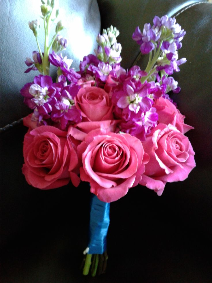 Hot pink roses with purple stock Bridesmaids Bouquet. #bridesmaidsbouquets #hotpinkpurplebridesmaidbouquet #stockrosesbridesmaidsbouquet #hotpinkrosesbridesmaidbouquet #mybouquetlv