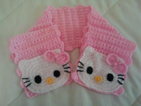 bufanda hello kitty (scarf hello kitty). envío gratuito a españa (península)  lana de colores ganchillo