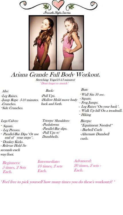 Ariana Grande Full Body Workout. Photos: Photoshoot with Jones Crow.   Dont forget to stretch! Yoga Is a great option, click below for video...