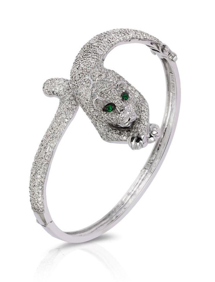 Signature 14K White Gold Diamond and Emerald Bangle, 5.07 TCW