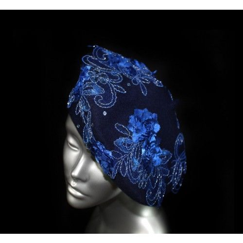 Electric Blue Beret Hat #accessories #fashion #headpiece #blue #hat #headdress #hairstyle #wedding #crystal #glamour #chic #millinery #romantic #fantasy #hats #swarovski  #collection #fairy #look