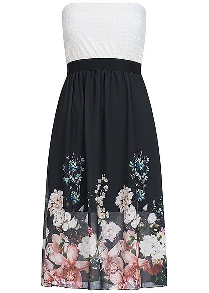 Styleboom Fashion Damen Midi Bandeau Kleid Blumen Muster Brustpads Spitze weiss schwarz - Art.-Nr.: 17036143