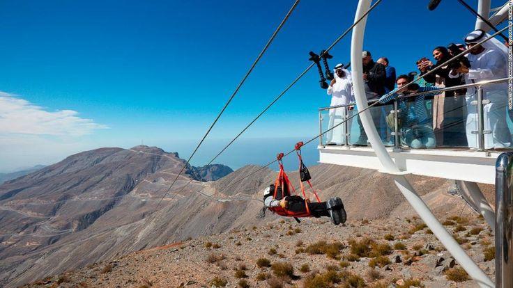 Adrenaline junkies can test their nerves on the world's longest zip line in Ras Al Khaimah, United Arab Emirates.