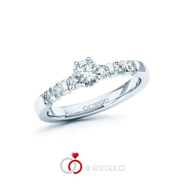 Verlobungsring Diamantring Solitaire wie A-1110-14 - 6 Krappen Aufsatzfassung, Breite: 2,50, Höhe: 2,00- Legierung: Weißgold 585/- - Steinbesatz: 1 Brillant 0,25 ct. tw, si