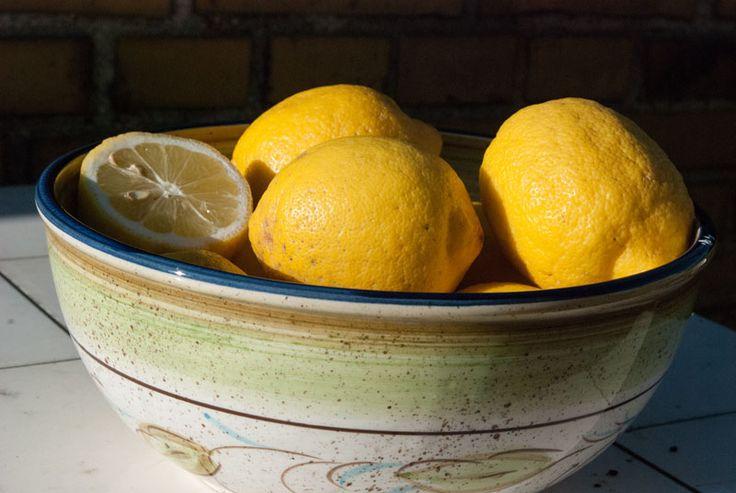 Lemons in Portugeese ceramic bowl