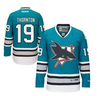 San Jose Sharks #19 Joe Thornton Teal 25th Anniversary Stitched NHL Jersey