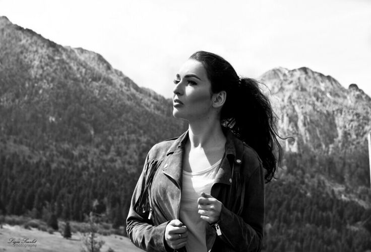 Mountains are calling Beautiful Romanian girl and a great view