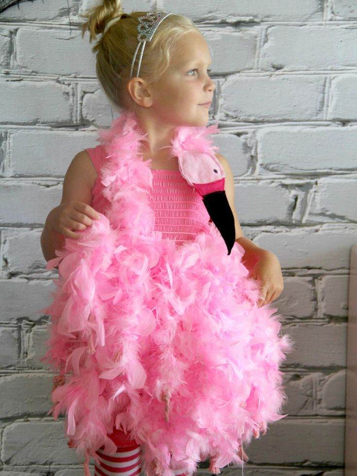 DIY Halloween Costumes for Kids Pink Flamingohide  Turn a bunch of inexpensive feather boas into a fun flamingo costume for your little one. Pair it with a pink dress and tights, and you have a unique, handmade Halloween costume that won't break the bank.