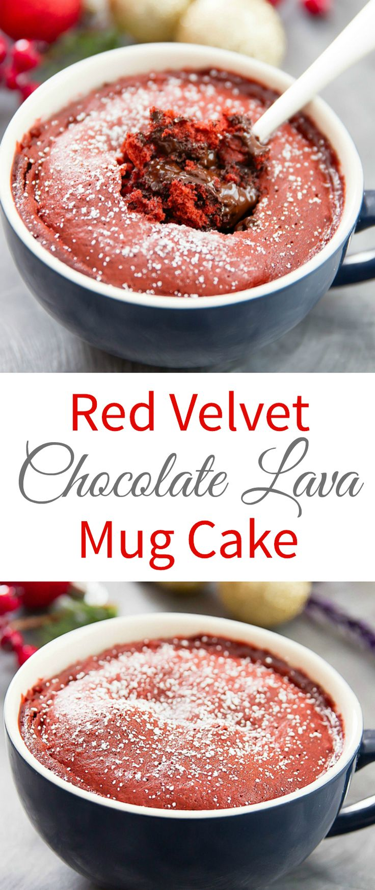 This single serving red velvet mug cake has a molten lava chocolate center. It's a festive cake for the holidays that is ready in just a few minutes. Red Velvet Chocolate Lava Mug Cake - Kirbie's Cravings.