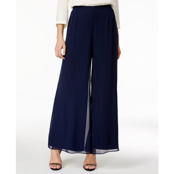 Msk Wide-Leg Chiffon Pants ($49) ❤ liked on Polyvore featuring pants, navy, palazzo trousers, wide leg chiffon pants, navy blue pants, navy wide leg pants and chiffon palazzo pants
