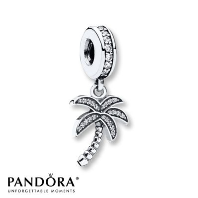With a curved trunk and sparkling fronds, a palm tree dangles from this sterling silver charm from the 2015 PANDORA Summer collection. Cubic zirconias accent the charm to complete the look. Style # 791540CZ.