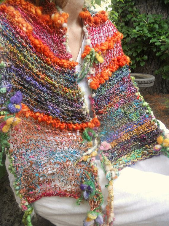 rustic handknit gypsy rainbow boho scarf wrap from the forest -  gypsy patchwork summer traveller