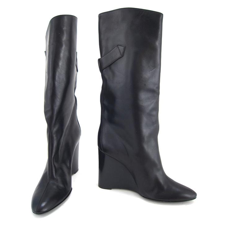 Balenciaga Black Leather Fold Over Buckle Wedge Boots - Size 36.5 - $390 Wedge Boots, Black Leather, Online Shops, Buckles Wedges, Wedges Boots, Balenciaga Black, Size 36 5, Leather Folding