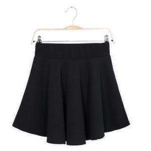 Women Candy Color Stretch Waist Plain Skater Flared Pleated Mini Skirt