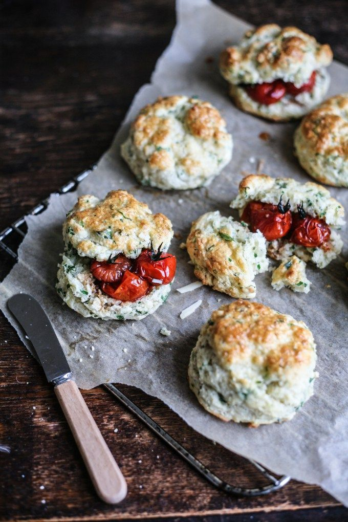 Cheddar & Herb Scones with Balsamic Roasted Tomatoes I Daisy and the Fox